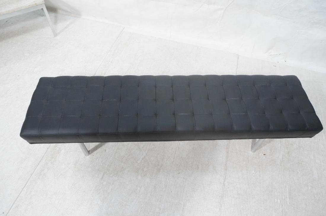 Black Vinyl Tufted Chrome Leg Bench. Modernist Se - 3
