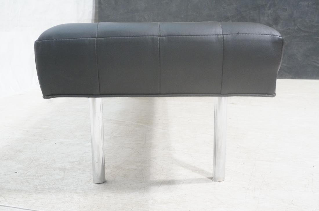 Black Vinyl Tufted Chrome Leg Bench. Modernist Se - 4