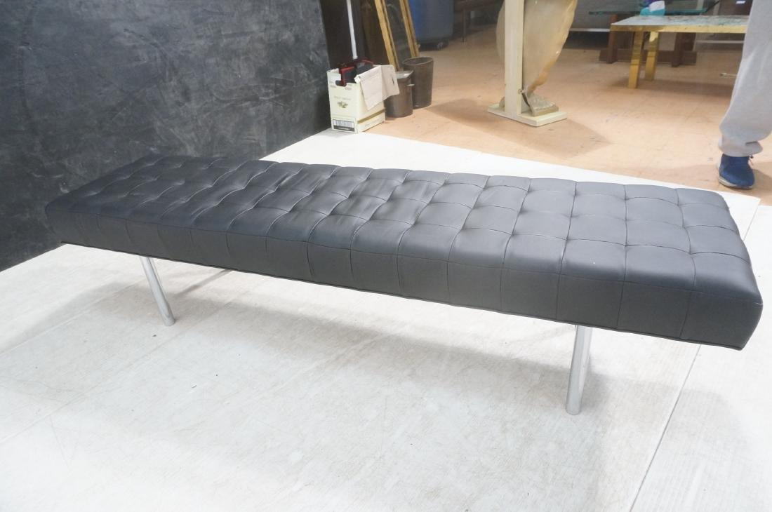 Black Vinyl Tufted Chrome Leg Bench. Modernist Se - 5