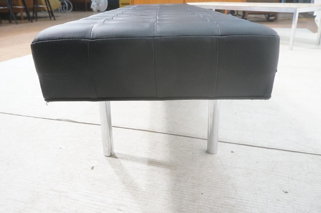 Black Vinyl Tufted Chrome Leg Bench. Modernist Se - 6