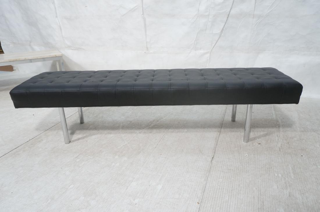 Black Vinyl Tufted Chrome Leg Bench. Modernist Se - 7