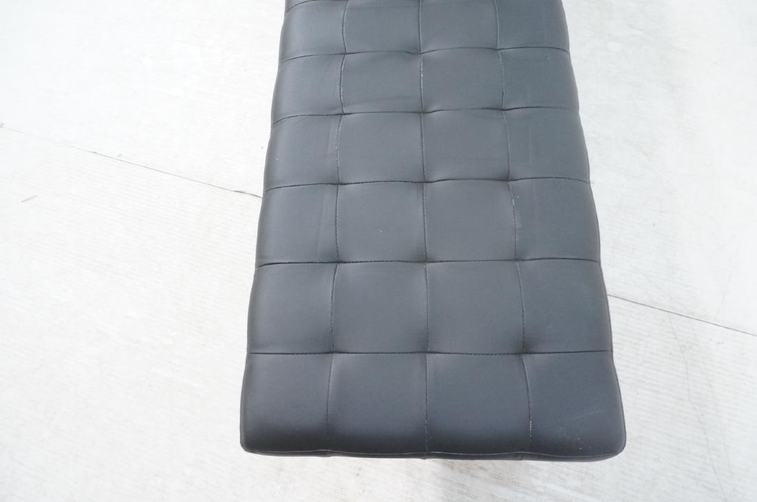 Black Vinyl Tufted Chrome Leg Bench. Modernist Se - 9