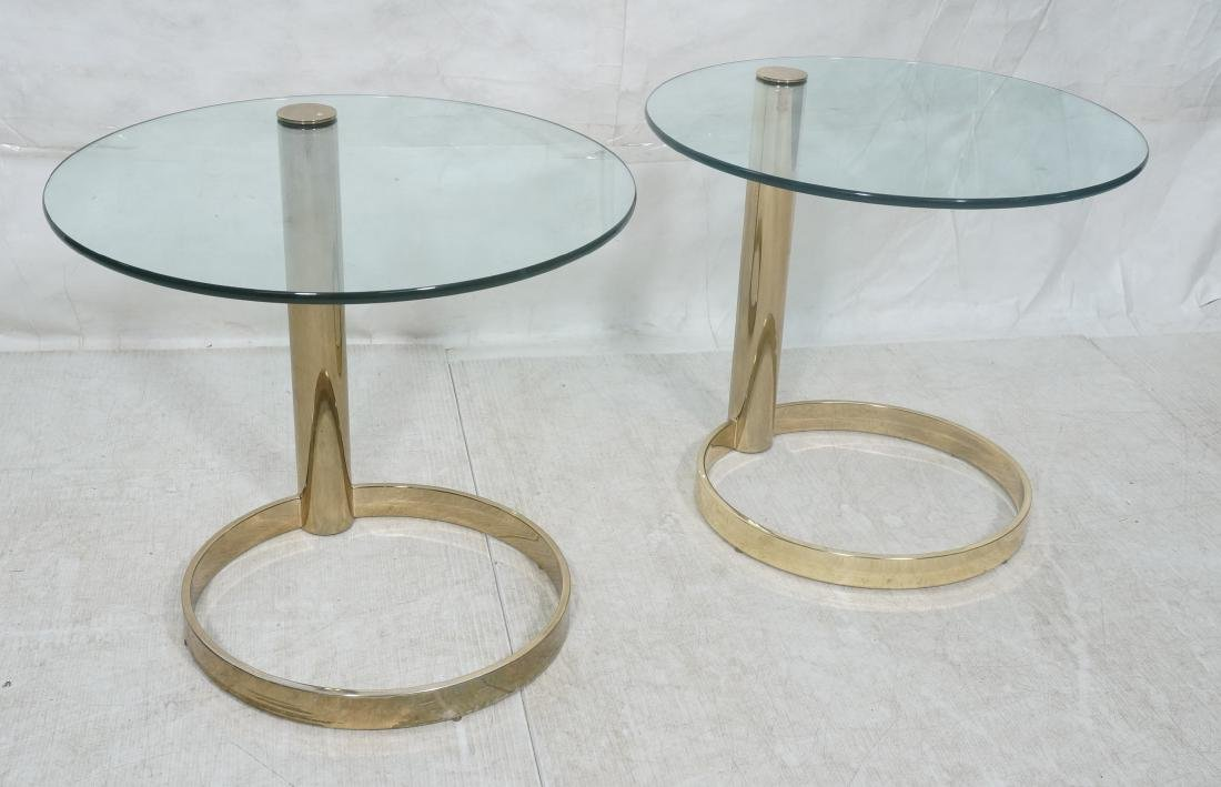 Gold Tone Dia Style Glass Top Side Tables Metal