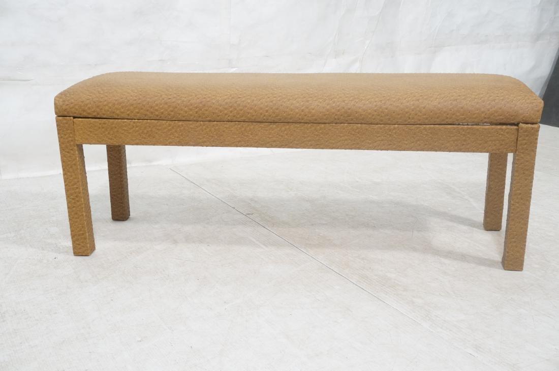 Faux Ostrich Skin Vinyl Modernist Bench. Parsons - 2