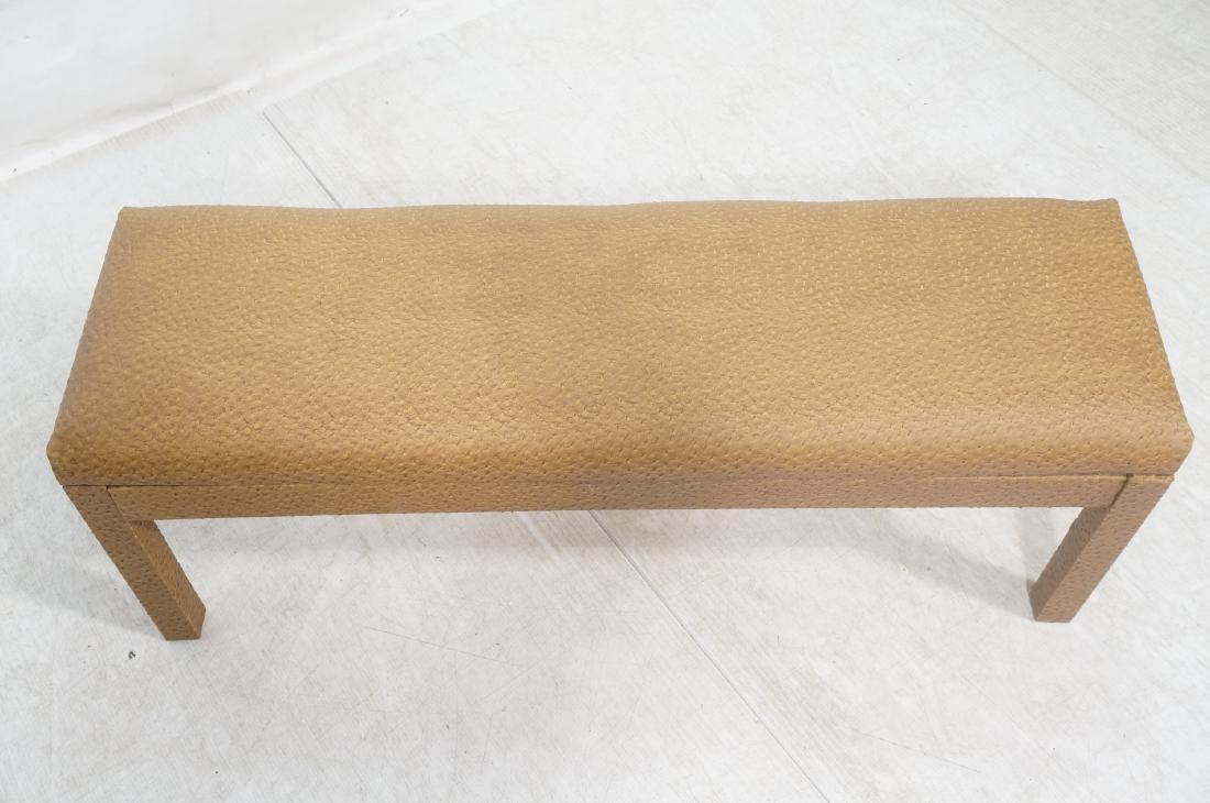 Faux Ostrich Skin Vinyl Modernist Bench. Parsons - 3