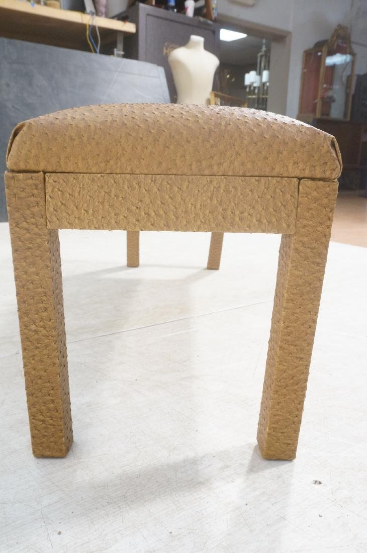Faux Ostrich Skin Vinyl Modernist Bench. Parsons - 4