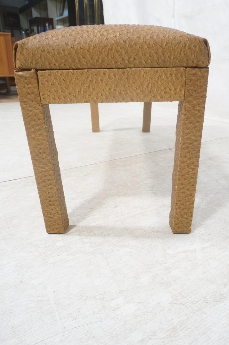 Faux Ostrich Skin Vinyl Modernist Bench. Parsons - 7