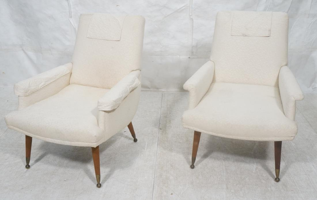 Pr Off White Upholstered Lounge Chairs. Italian S