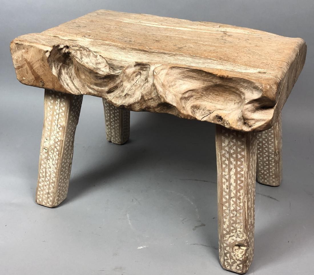 "Primitive Wood Slab Tribal Bench Stool. 3.5"" thic"