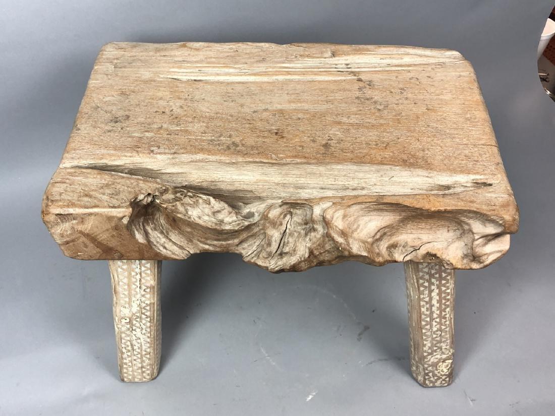 "Primitive Wood Slab Tribal Bench Stool. 3.5"" thic - 3"