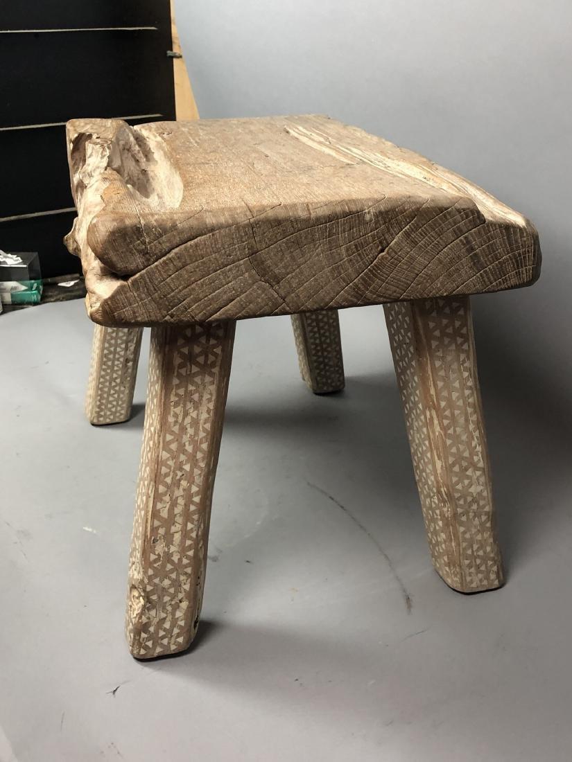 "Primitive Wood Slab Tribal Bench Stool. 3.5"" thic - 4"