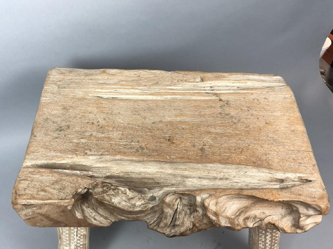 "Primitive Wood Slab Tribal Bench Stool. 3.5"" thic - 6"