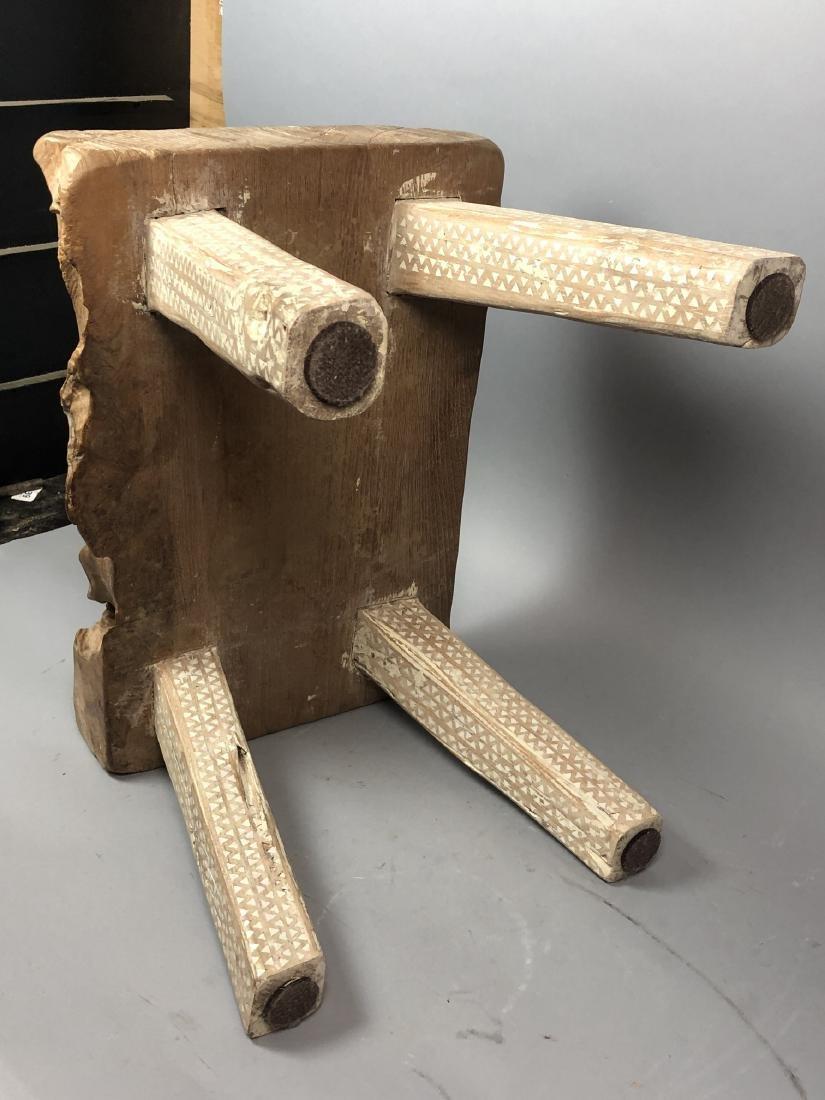 "Primitive Wood Slab Tribal Bench Stool. 3.5"" thic - 7"
