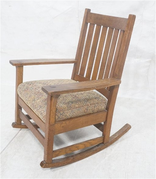 Brilliant Stickley Oak Arts Crafts Mission Rocking Chair Creativecarmelina Interior Chair Design Creativecarmelinacom