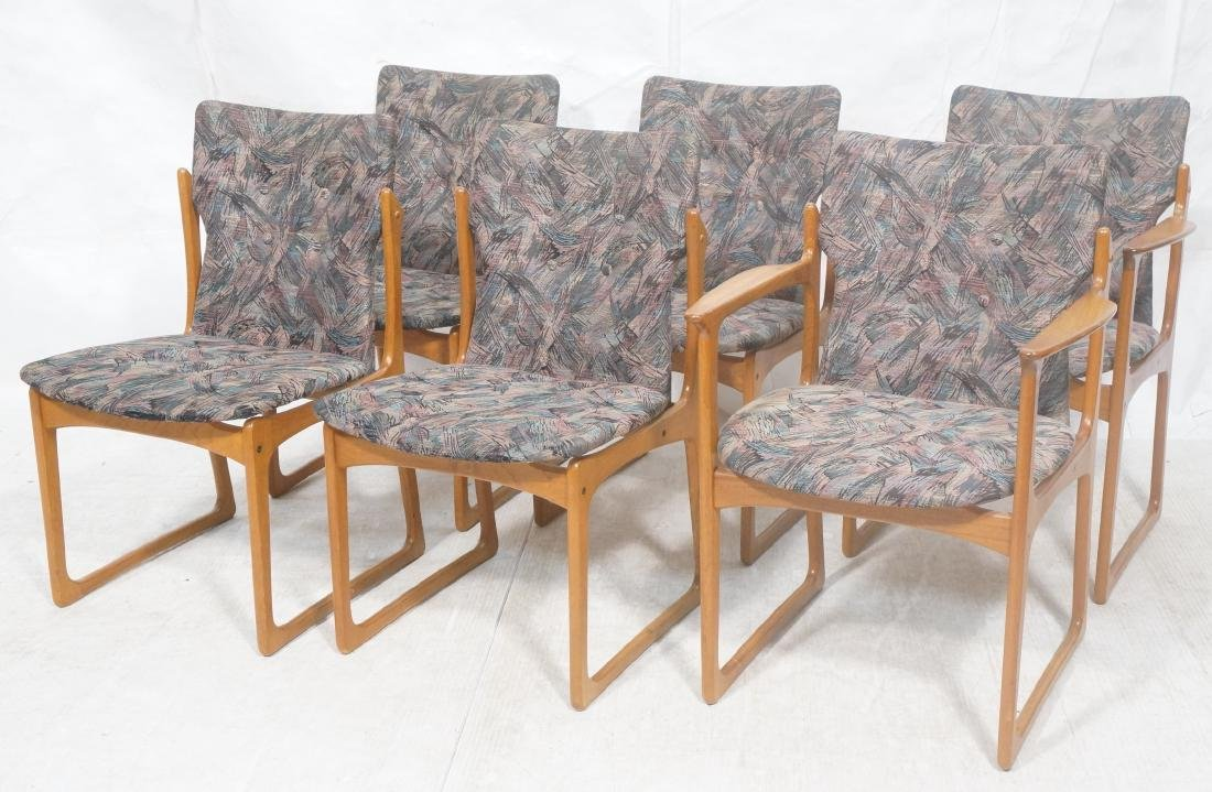 6 Danish Teak Dining Chairs. 2 arm chairs. Tall t