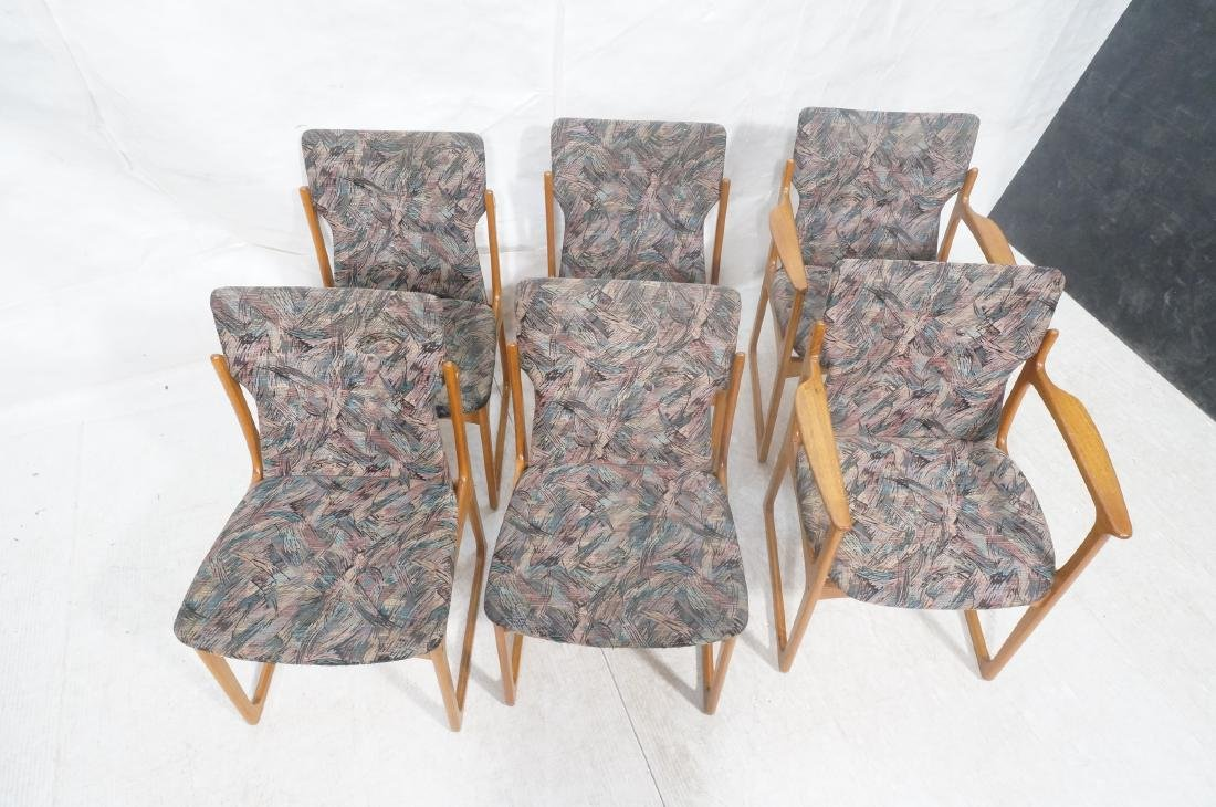 6 Danish Teak Dining Chairs. 2 arm chairs. Tall t - 3