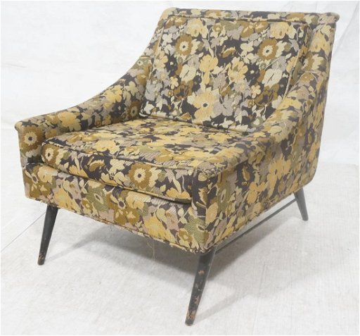 Miraculous Floral Upholstered Modernist Lounge Chair Paul M Squirreltailoven Fun Painted Chair Ideas Images Squirreltailovenorg