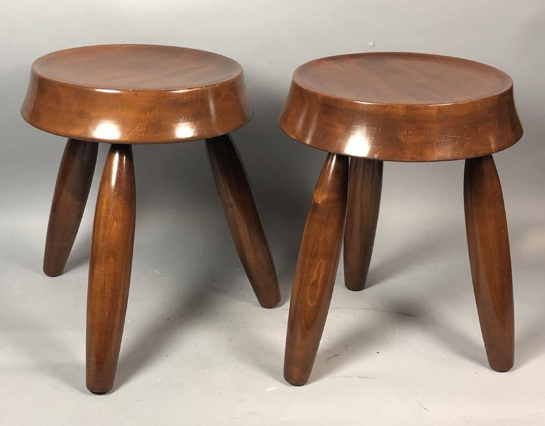 Pr Modernist Wood Stools. Tripod stools with conc