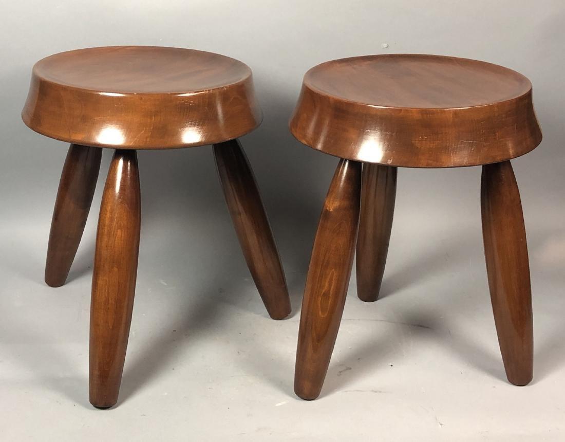 Pr Modernist Wood Stools. Tripod stools with conc