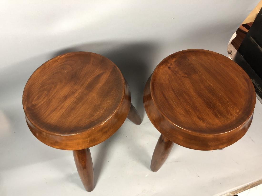 Pr Modernist Wood Stools. Tripod stools with conc - 3