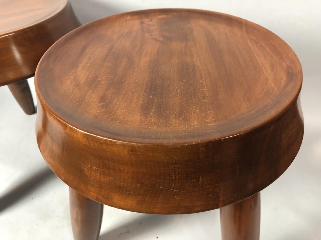 Pr Modernist Wood Stools. Tripod stools with conc - 4