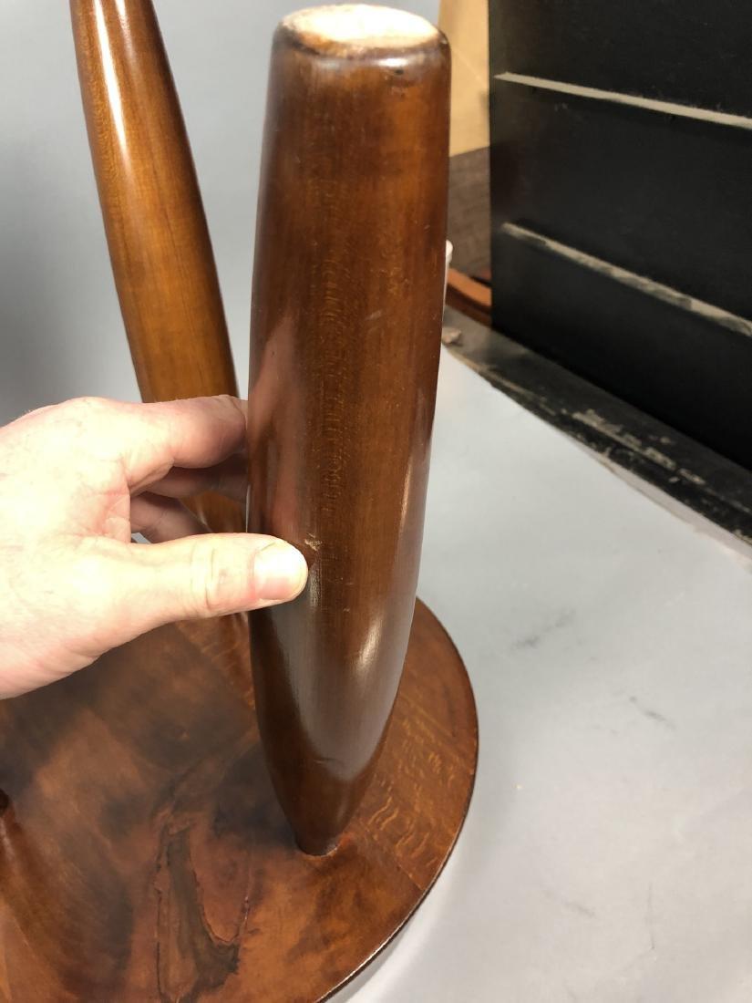Pr Modernist Wood Stools. Tripod stools with conc - 6