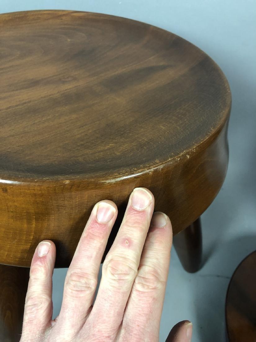 Pr Modernist Wood Stools. Tripod stools with conc - 7