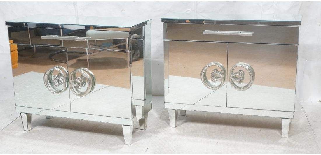 Pr Hollywood Recency Mirrored Cabinet Chest. Cabi