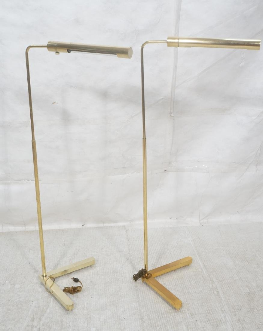 Pr CASELLA Brass Floor Lamps. Brass Corner style