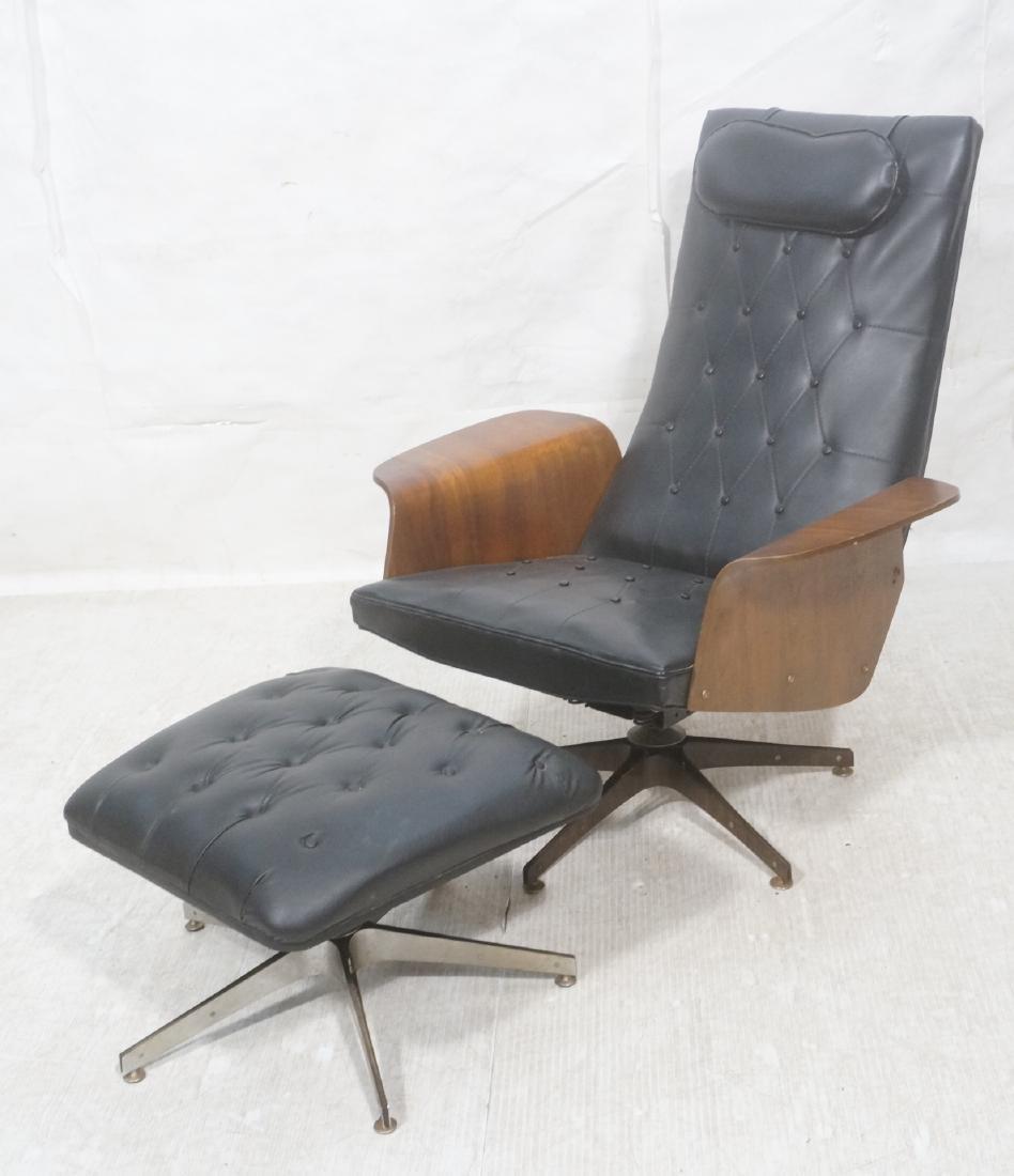 Modernist Lounge Chair & Ottoman. Plycraft style