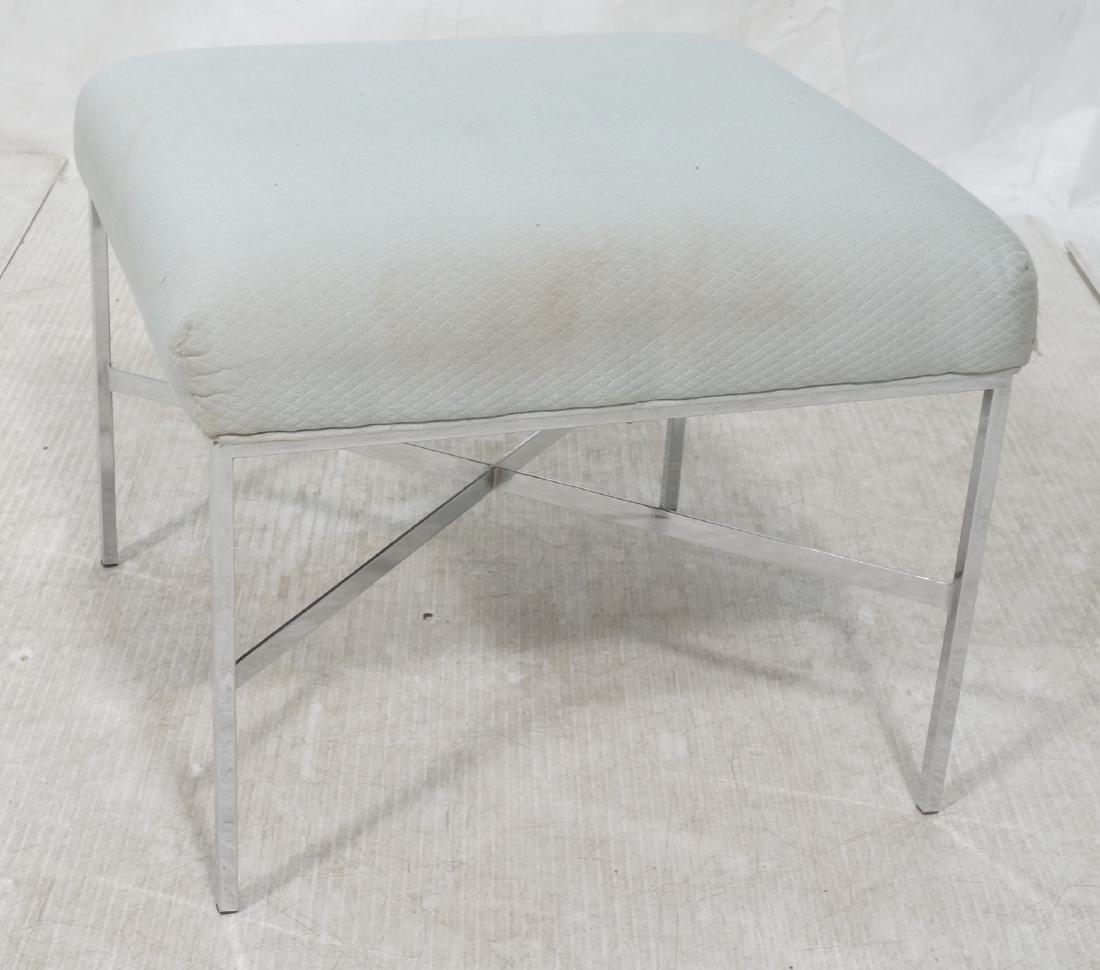 White Upholstered Chrome Leg Modernist Bench Seat