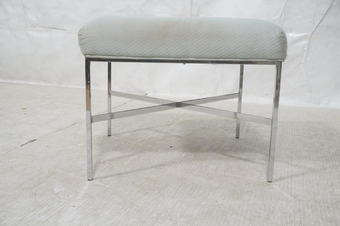 White Upholstered Chrome Leg Modernist Bench Seat - 2
