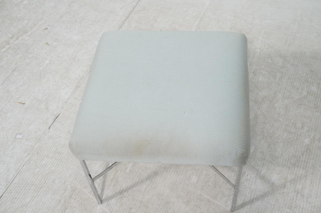 White Upholstered Chrome Leg Modernist Bench Seat - 3