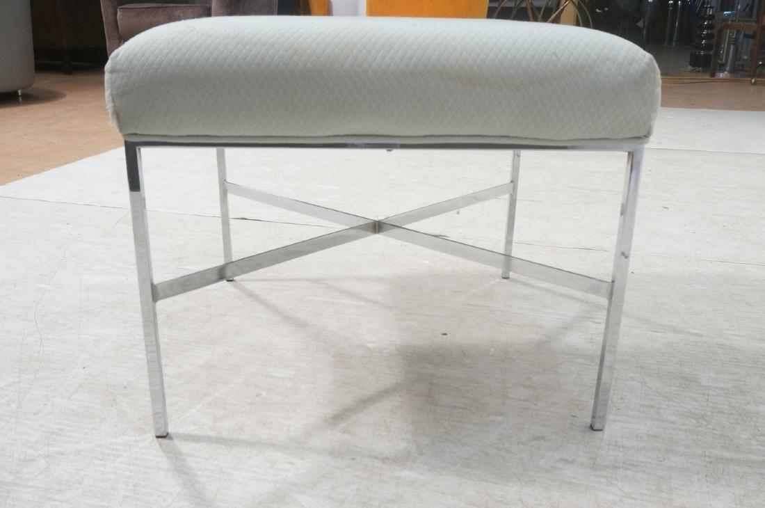 White Upholstered Chrome Leg Modernist Bench Seat - 4