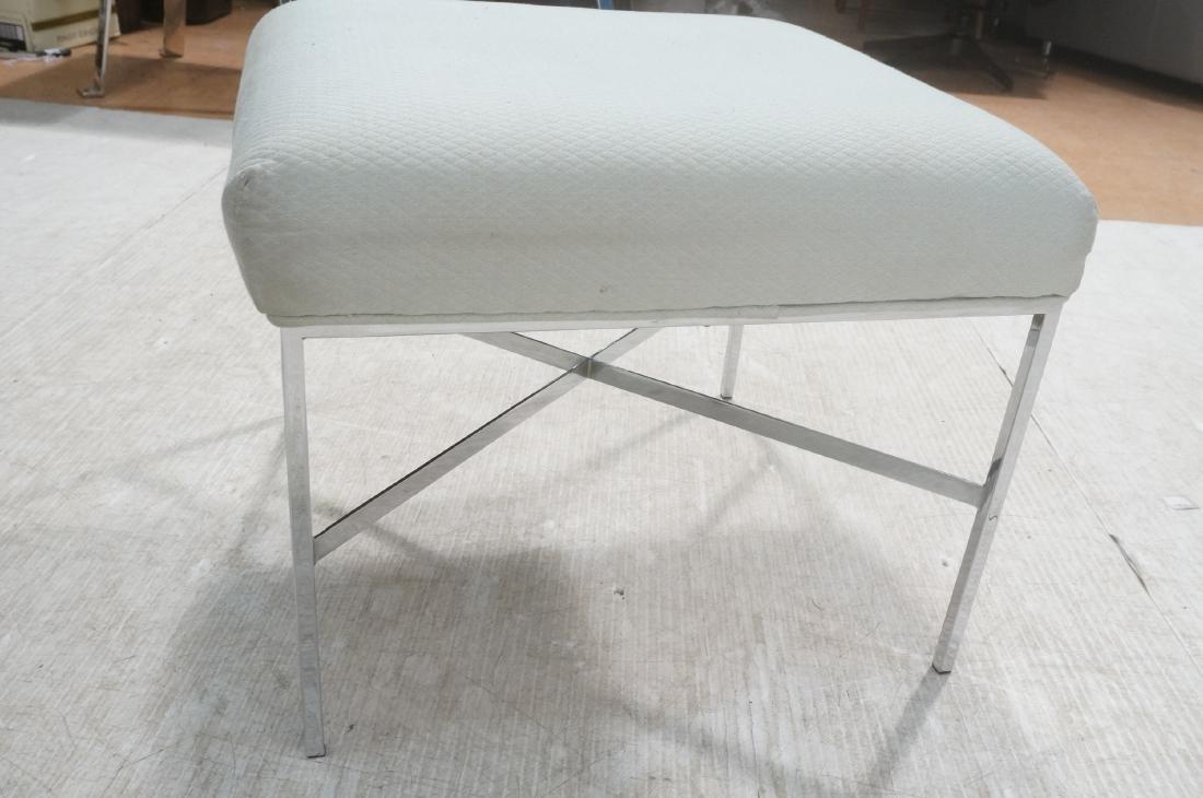 White Upholstered Chrome Leg Modernist Bench Seat - 5