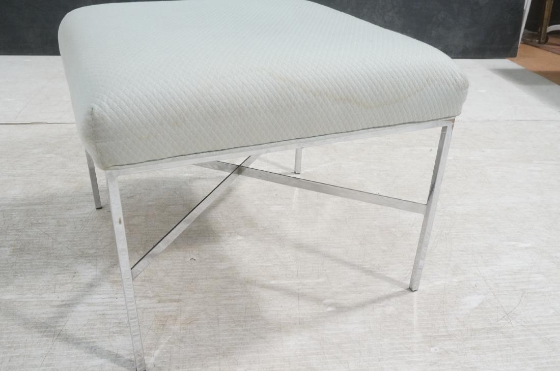 White Upholstered Chrome Leg Modernist Bench Seat - 6