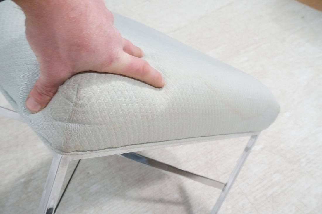 White Upholstered Chrome Leg Modernist Bench Seat - 7