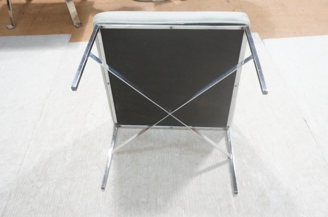 White Upholstered Chrome Leg Modernist Bench Seat - 8