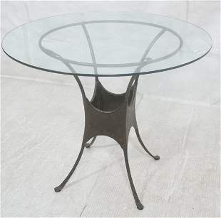 Glass Top Metal Base Cafe Table 4 splayed legs w
