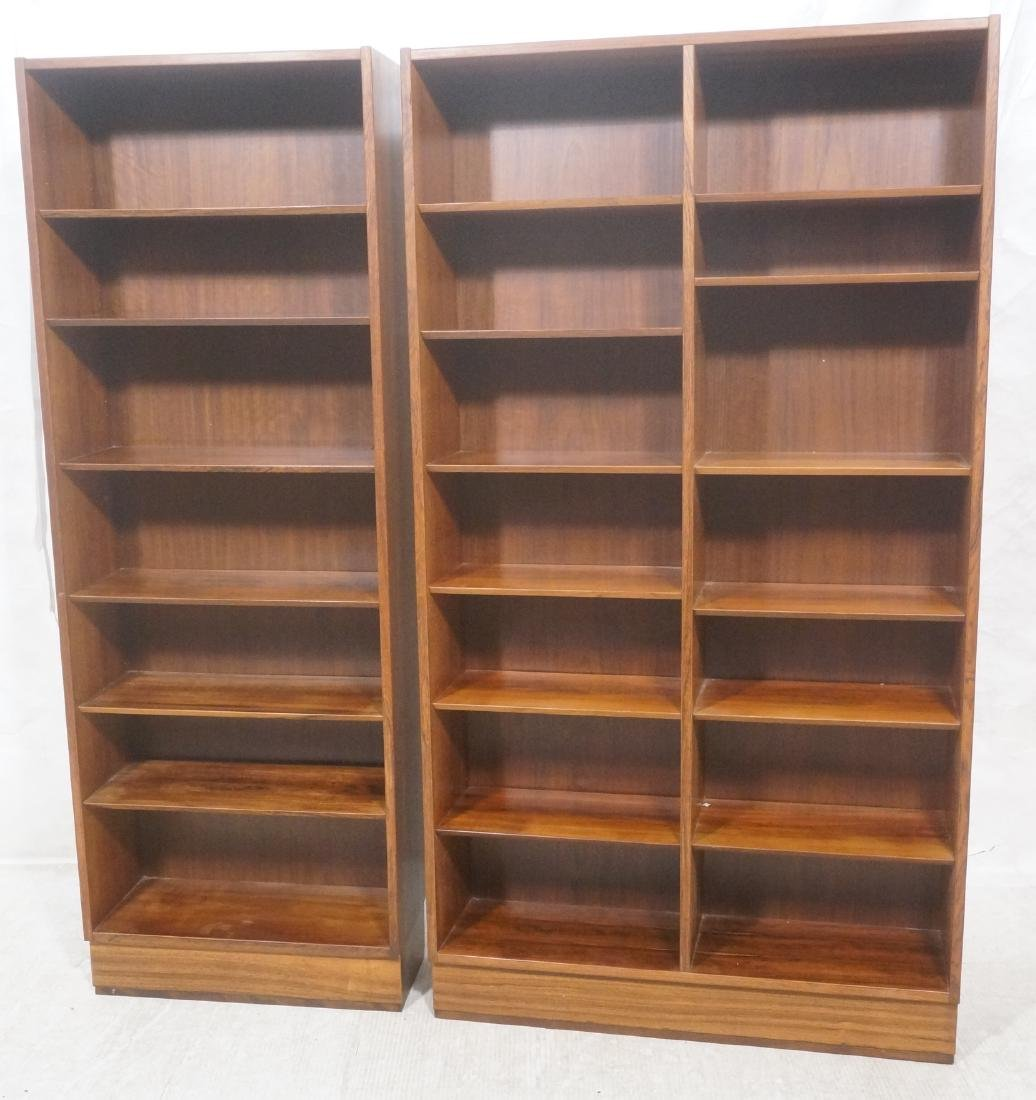 2 Danish Modern Rosewood  Tall Bookcases on Platf