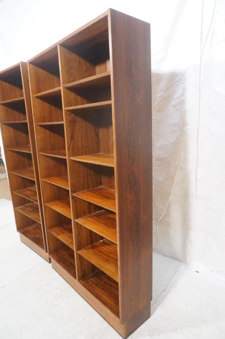 2 Danish Modern Rosewood  Tall Bookcases on Platf - 7