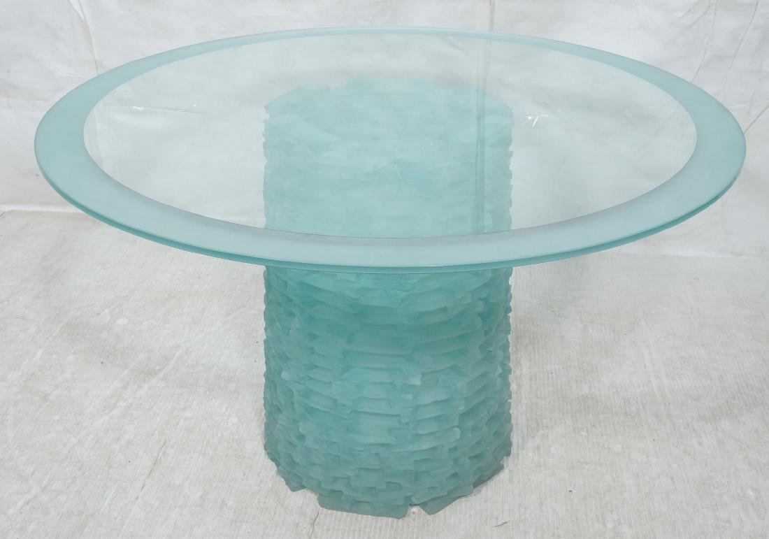 Stacked Frosted Glass Modernist Dining Table. Hol