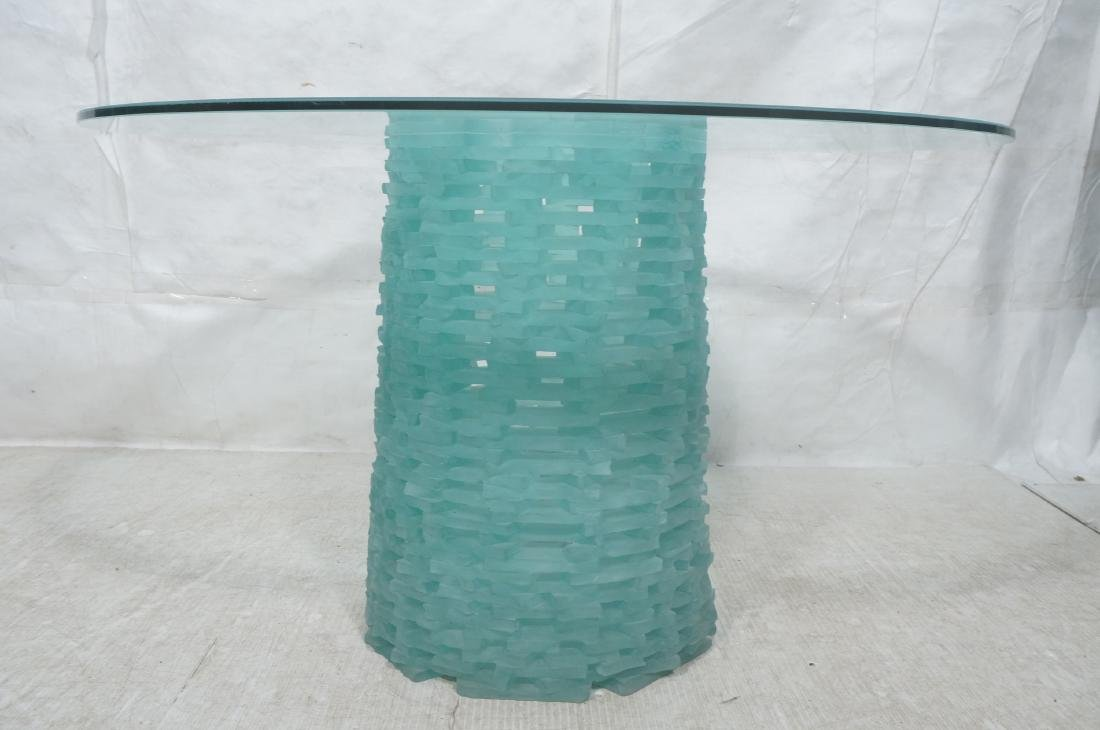 Stacked Frosted Glass Modernist Dining Table. Hol - 2