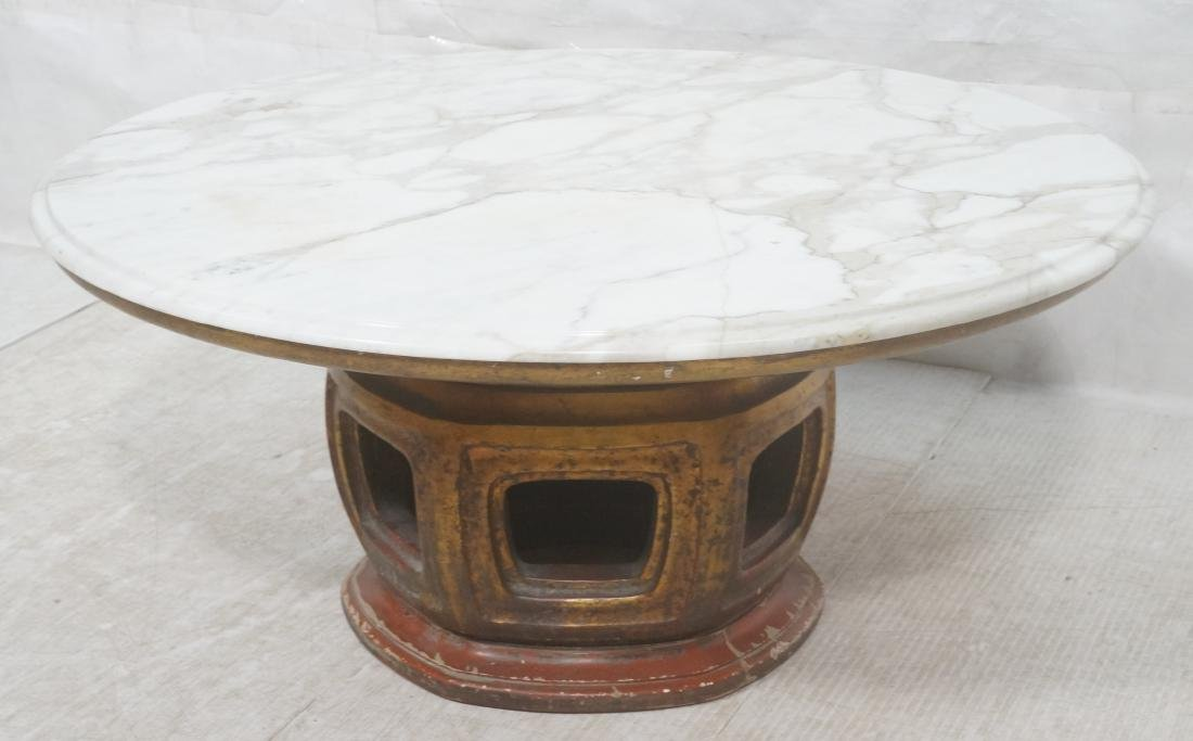 White Marble Top Asian Base Cocktail Coffee Table