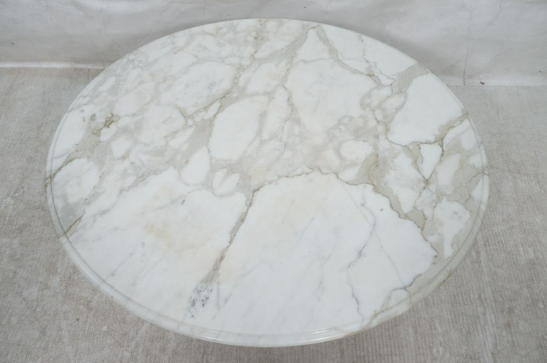 White Marble Top Asian Base Cocktail Coffee Table - 3