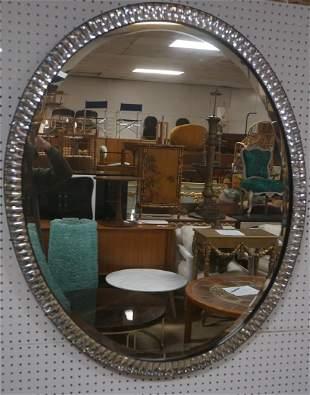 Decorator Faceted Crystal Frame Beveled Oval Mirr