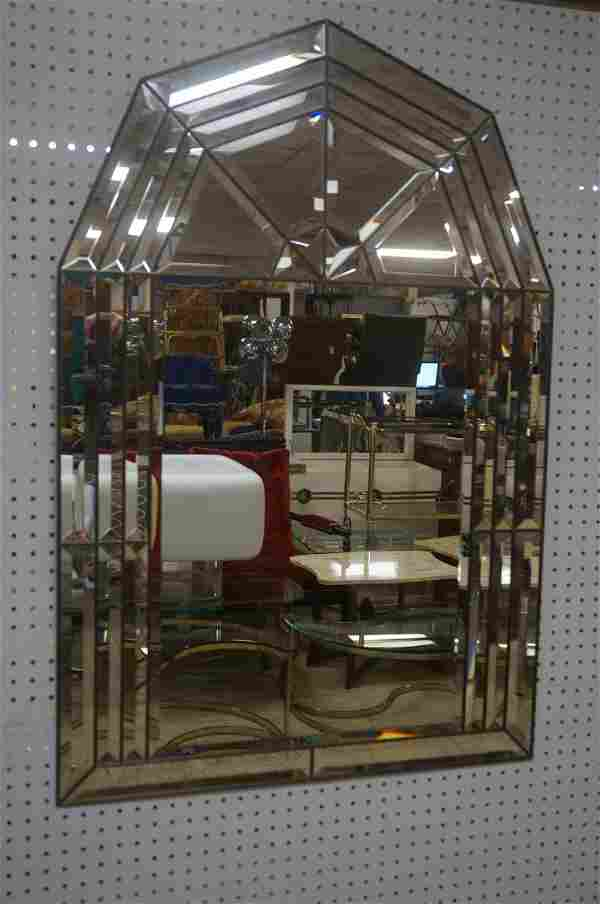 Modernist Wall Mirror. Beveled mirror panels in l
