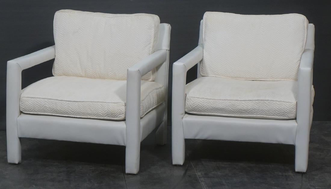 Pr White Vinyl Parson Style Lounge Chairs. Frame