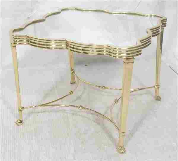 Decorator Mirrored Top Brass Side Table. Figural