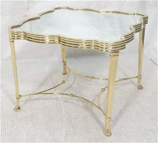 Decorator Mirrored Top Brass Side Table Figural